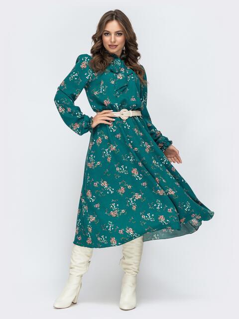 Зеленое платье с флористическим принтом 45080, фото 1