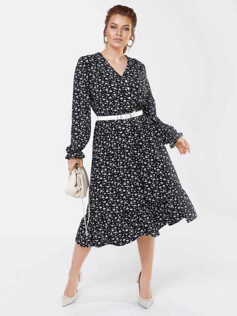 Черное платье большого размера с воланом по низу 53649, фото 1