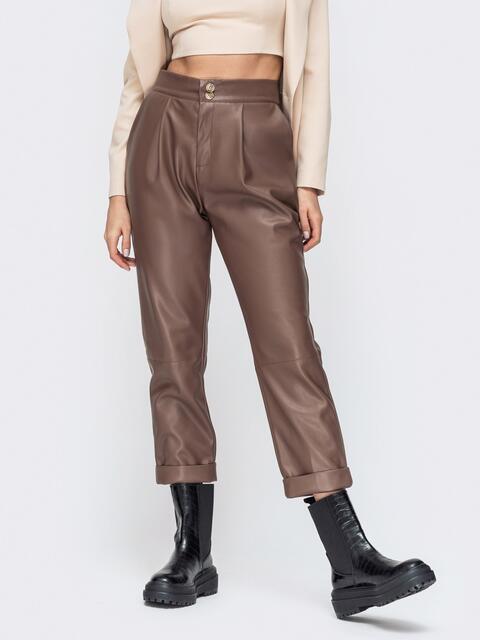 Коричневые брюки из эко-кожи с высокой посадкой 44736, фото 1