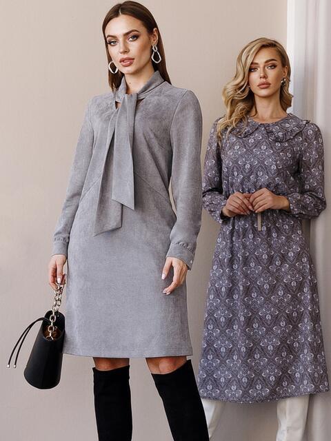 Платье из замши с воротником-аскот серое 52879, фото 1