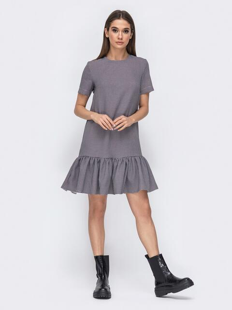 Серое платье в клетку с вланом по низу 44782, фото 1