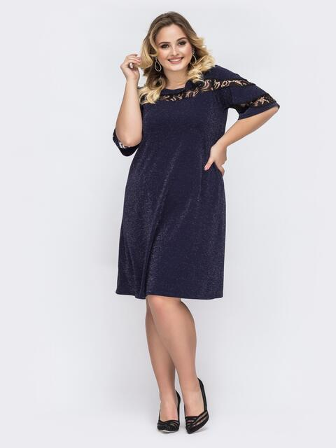 Тёмно-синее платье батал с люрексом и кружевной вставкой 43887, фото 1