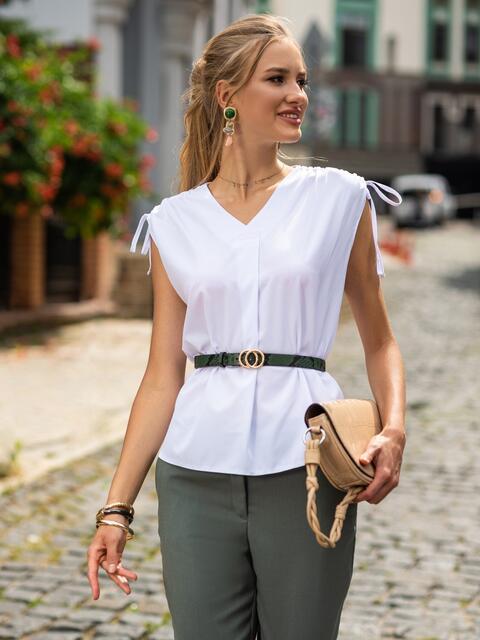 Белая блузка из софта с V-образным вырезом 49769, фото 1