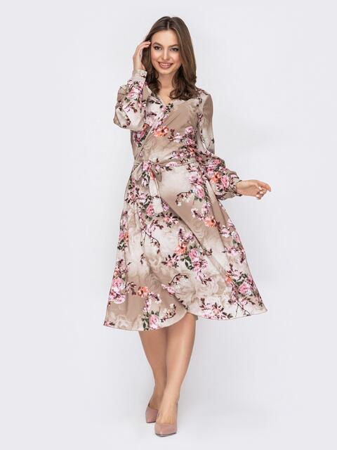 Бежевое платье на запах с цветочным принтом 53420, фото 1