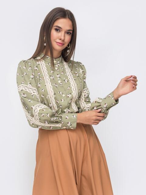 Блузка с принтом и кружевными вставками зеленая 51172, фото 1