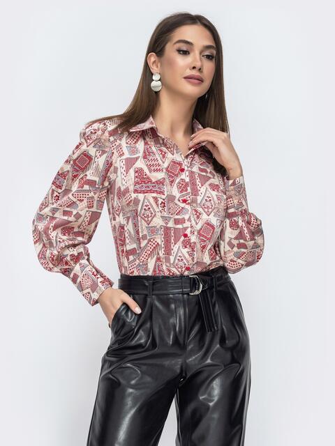 Бордовая блузка с принтом 45042, фото 1