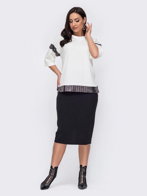 Костюм большого размера из юбки-карандаш и кофты белый 52735, фото 1