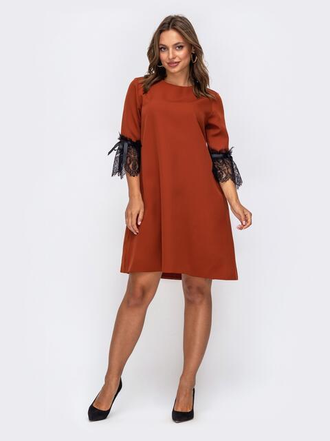 Платье-трапеция терракотового цвета с кружевом на рукавах 50236, фото 1