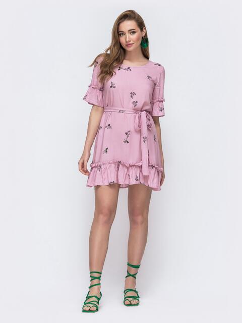 """Расклешённое платье с воланами и принтом """"журавли"""" розовое 48588, фото 1"""