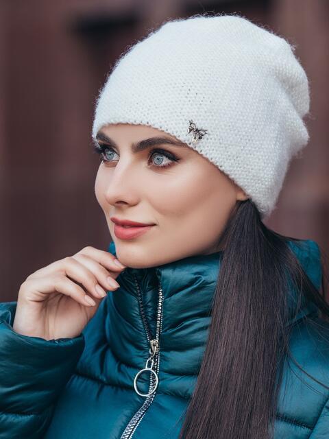 Вязаная шапка с люрексом белая 40276, фото 1