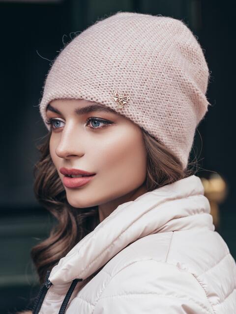 Вязаная шапка с люрексом пудровая 40277, фото 1