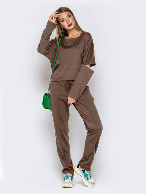 Брючный костюм со свитшотом коричневый 50155, фото 1
