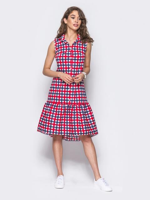 Платье-рубашка в красно-голубую клетку с удлиненной спинкой 11646, фото 1