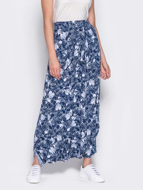 Принтованная юбка-трансформер синяя 12888, фото 1