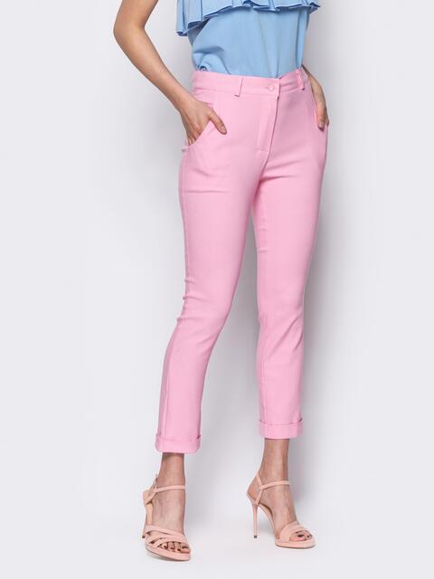 Розовые брюки со шлевками на поясе 10348, фото 1