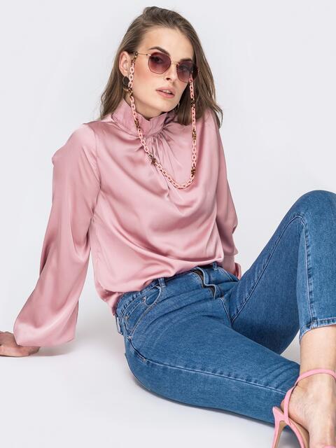 Шелковая рубашка с воротником-стойкой розовая 45751, фото 1