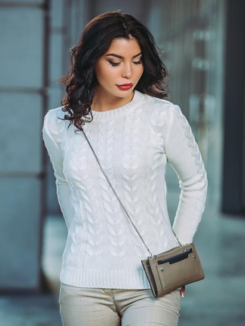 "Белый вязаный свитер с узором ""косы"" 37137, фото 1"