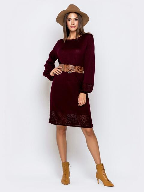 Бордовое платье с ажурной вязкой по низу 41209, фото 1