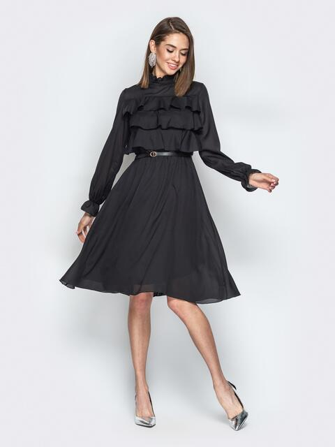 Чёрное платье с воланами по верху и юбкой-клёш 20845, фото 1