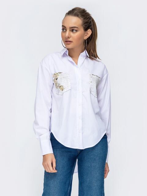 Свободная блузка с карманами из пайеток белая 44881, фото 1