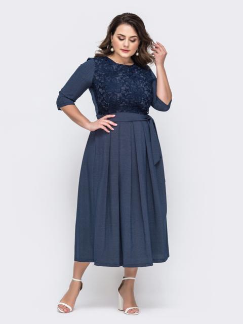 Тёмно-синее платье батал с расклешенной юбкой 46433, фото 1