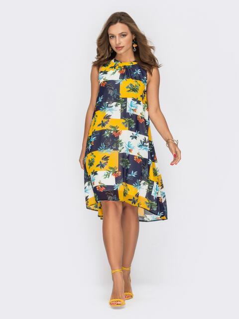 Темно-синее платье-трапеция из шифона с принтом 53857, фото 1