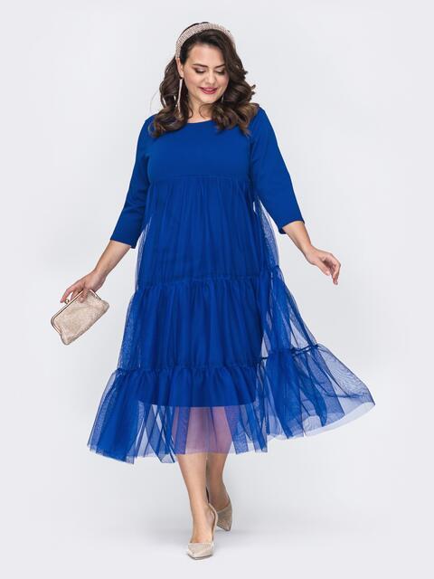 Трикотажное платье батал с фатиновой юбкой синее 52119, фото 1