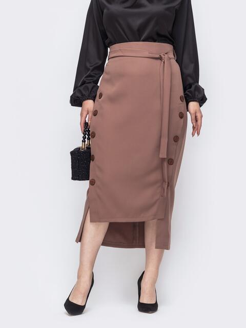 Бежевая юбка большого размера с пуговицами спереди 50897, фото 1