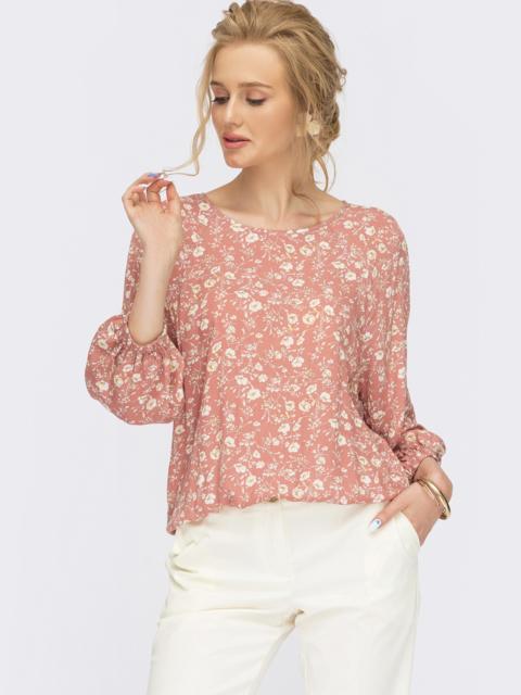 Блузка с цветочным принтом пудрового цвета 54470, фото 1