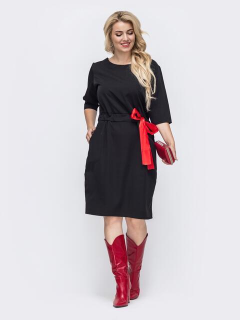 Черное платье большого размера с кулиской в поясе 50898, фото 1