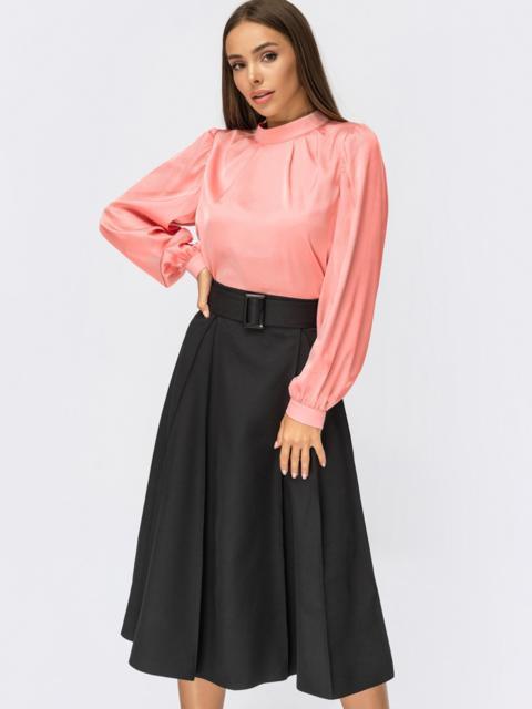 Костюм из блузки розового цвета и юбки-полусолнце 54969, фото 1