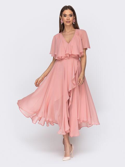 Платье из шифона с запахом и широкими воланами розовое 44750, фото 1