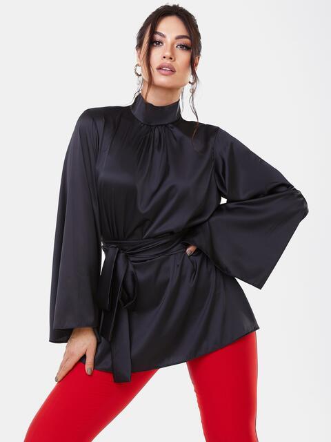 Черная блузка большого размера с воротником-стойкой 53651, фото 1