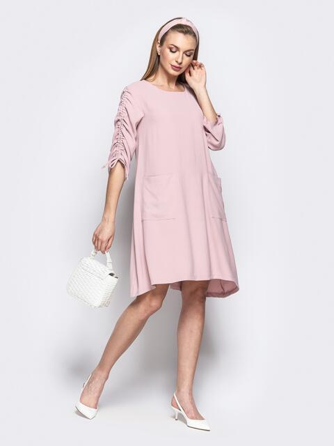 Свободное платье с регулируемыми рукавами на кулиске розовое 21530, фото 1