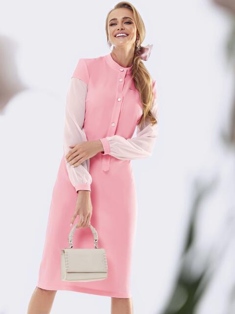 Розовое платье приталенного кроя с рукавами из шифона 53455, фото 1