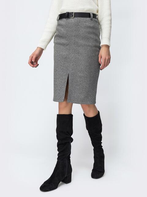 Серая юбка с разрезом спереди 44093, фото 1