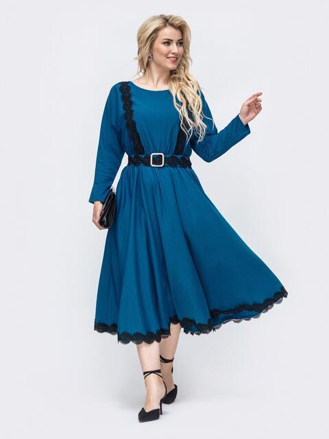 Синее платье батал с расклешенной юбкой 51012, фото 1