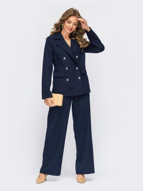 Тёмно-синий костюм с брюками и двубортным пиджаком 55131, фото 1
