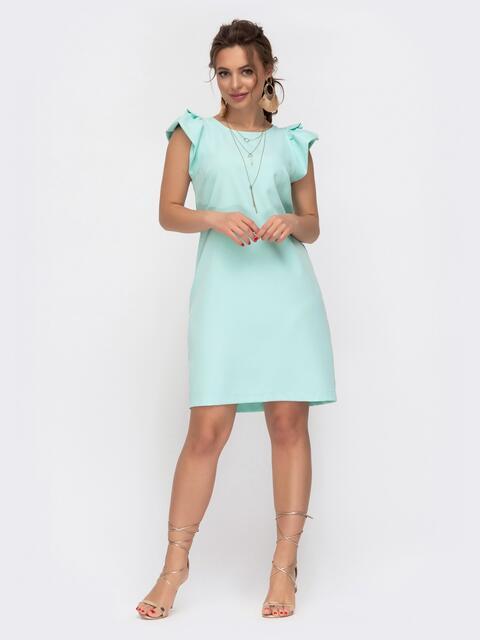 Бирюзовое платье приталенного кроя с V-вырезом по спинке 46651, фото 1