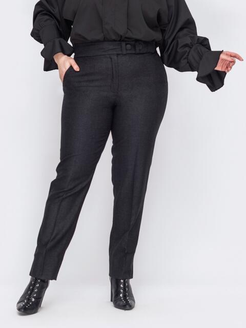 Черные брюки большого размера с карманами по бокам 53108, фото 1