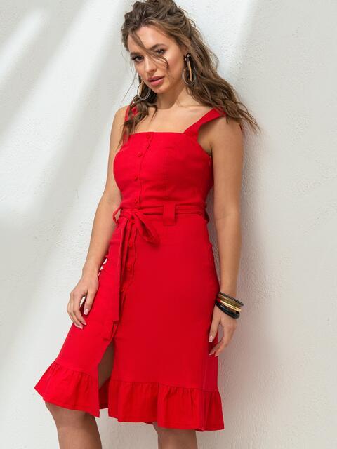 Красное платье из льна на широких бретелях с воланом по низу 46655, фото 1