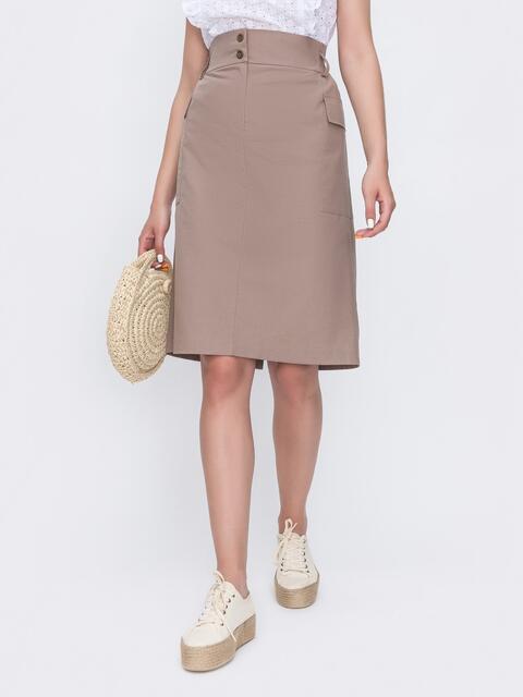 Льняная юбка прямого кроя бежевого цвета 49362, фото 1