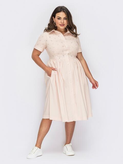 Платье-рубашка большого размера цвета пудры 54016, фото 1