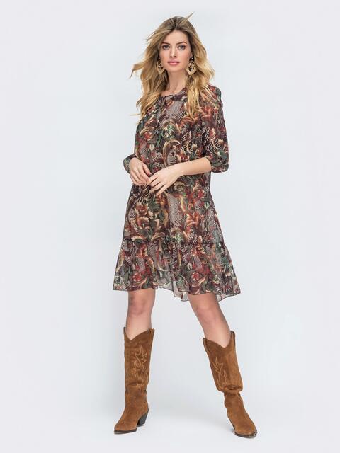 Шифоновое платье с принтом и шнуровкой по горловине коричневое 45466, фото 1
