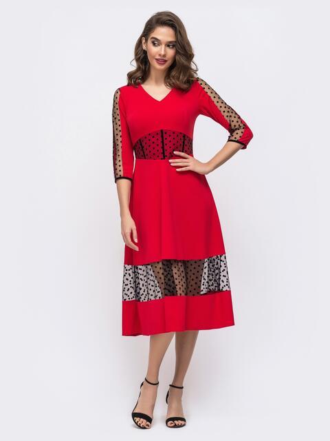 Красное платье с вставками из фатина в горох 43070, фото 1