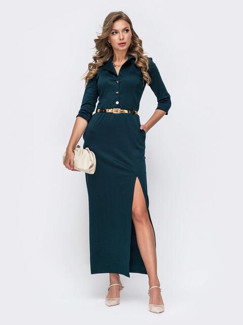 Обтягивающее платье зелёного цвета с высоким разрезом  50579, фото 1