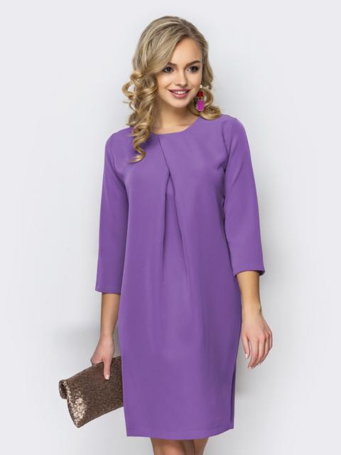 Платье свободного кроя со складкой фиолетовое 44731, фото 1