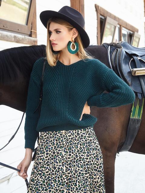 Зеленый свитер крупной вязки 41146, фото 1