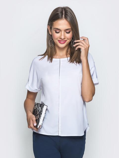 Блузка из креп-шифона белого цвета 40098, фото 1