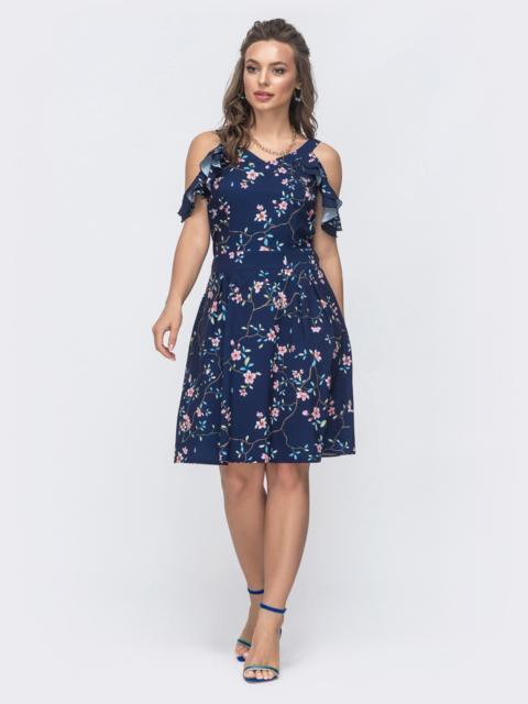 Платье приталенного кроя с принтом тёмно-синее 47303, фото 1